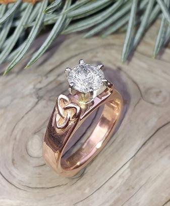 Red Gold Loveknot Diamond Engagement Ring