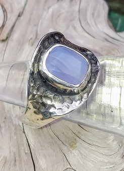 Ellensburg Blue Agate and Sterling Silver Ring