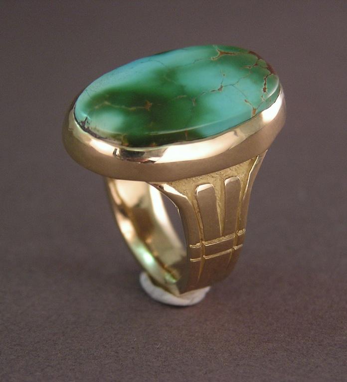 custom art deco style turquoise ring. Black Bedroom Furniture Sets. Home Design Ideas