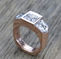 Alicia's Old European Diamonds set in Red Gold Custom Wedding Ring