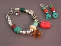 photo of Sterling and Trade Bead Bracelet and Earrings