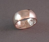 14kt Red Gold Ring with Hand Carved Orca Inside