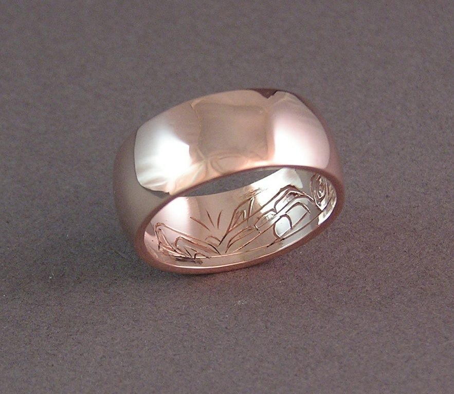 Beautiful Custom Hand Carved Wedding Ring that few will ever see