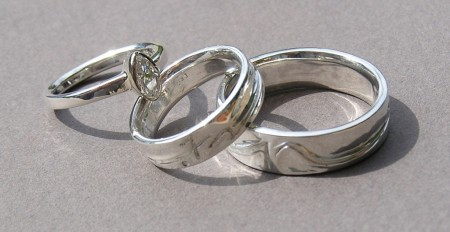Photo of the Signature Wedding Ring Set hand-carved by Owen Walker