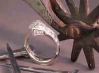 White Gold Horseshoe Nail Engagement Ring
