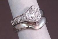 White Gold Horseshoe Nail Wedding set with diamonds