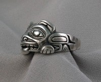 Photo of Sterling Bear Ring left side view, very 3-D sculpted