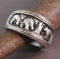 Sterling Silver Story Ring of Mother Bear