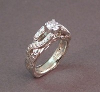 Photo of Celtic Twisted Braid Engraved Diamond Wedding Ring
