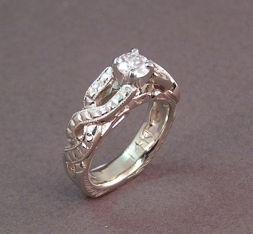 Celtic Style Twisted Braid Engraved Diamond Wedding RingDone