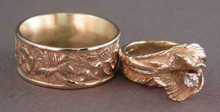 Photo of Carved Story Rings in 14kt Gold