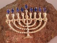 14kt Gold Hanukkiyah with Sapphires