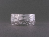 Young eagle hand carved sterling silver bracelet