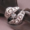Sterling Silver Double Raven Custom Engagement Ring with 1 ct. Black Diamond