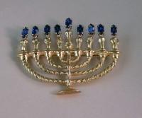 14kt yellow gold Hanukkiyah