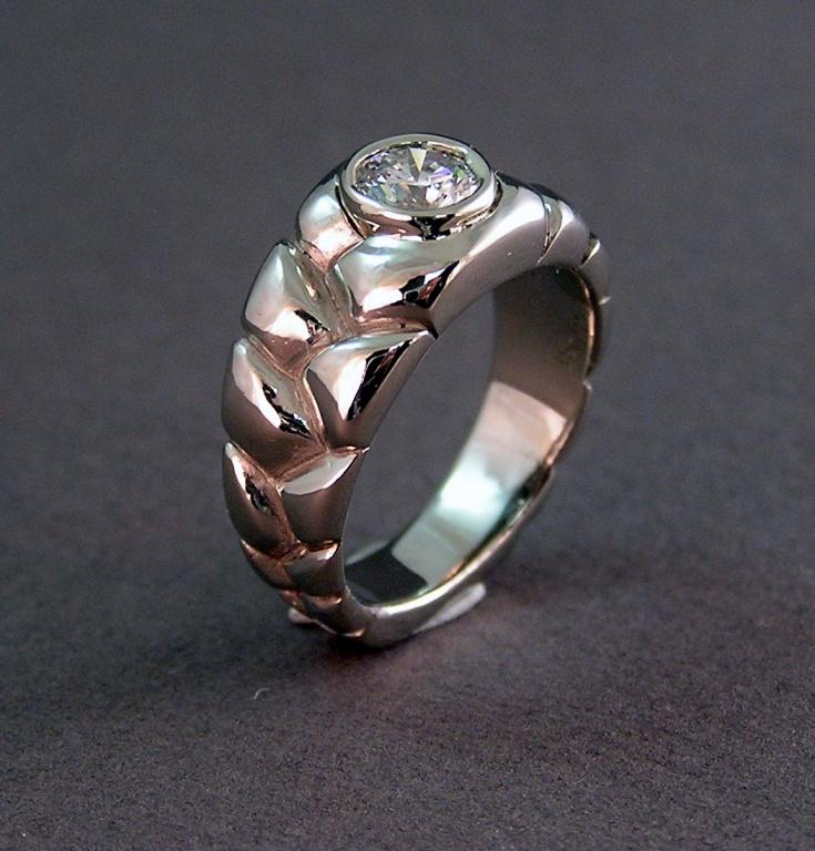 photo of custom white gold 1ct diamond braided wedding ring design - Custom Wedding Ring