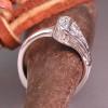 14 kt White Gold Horseshoe Nail Engagement Ring with Diamonds
