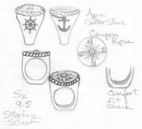 Custom Compass Ring Drawings