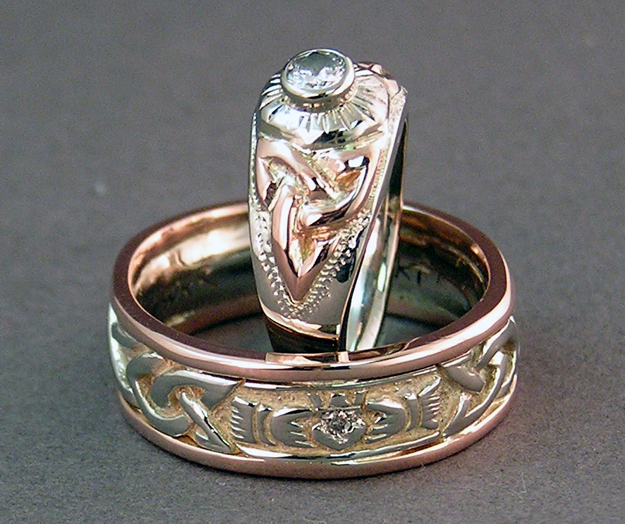 Celtic Love Knots And Claddagh Custom Wedding Rings