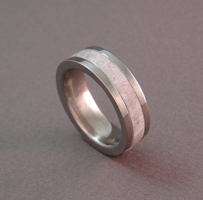 photo of joes titanium and antler wedding ring - Antler Wedding Rings