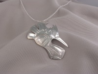 Kingfisher hand carved sterling silver pendant by Owen Walker