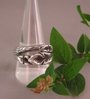 Custom Sterling Silver Ring with Leaves and Branches