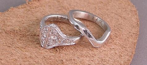 14 kt White Gold Custom Horseshoe Nail Wedding Set