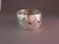 Hand carved sterling silver clasp style bracelet with copper/iron mokume ganeinlay D67 $1000.00
