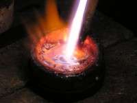 Gold being melted in a crucible
