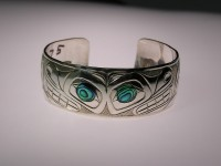 Little Bear hand carved sterling silver bracelet with abalone shell inlay