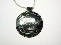 Raven and Moon Hand Carved sterling silver pendant #408