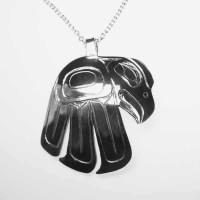 Dancing Eagle sterling silver hand carved pendant by Owen Walker #405