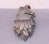 Hand carved sterling silver Raven feather pendant #413