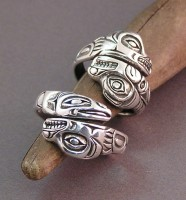 Sterling Totem style wedding rings