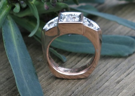 Red Gold and Old European Cut Diamonds in Custom Wedding Ring