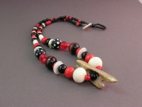 Photo of Red and Black Trade Bead Necklace with Harpoon Head Pendant