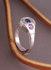 Sterling Horseshoe Nail Ring with Birthstones