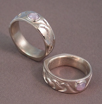 14 Kt White Gold Surf Rings With Lavender Star Shires