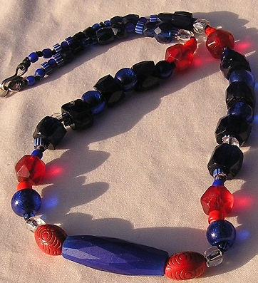 Long Cobalt Russian and Venetian Fancy Trade Beads