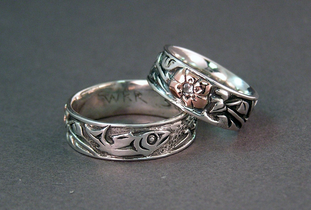 East meets west in our story custom wedding rings view of the salmon and cherry blossoms on sterling and rose gold rings junglespirit Images