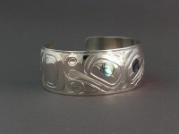 Golden Eagle hand carved sterling silver bracelet with abalone inlay $450