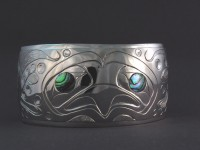 Photo of Hand carved Sterling Silver face on Octopus bracelet D82