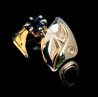 Custom Wedding Rings Chickadee and Sapphire
