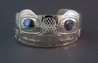 Photo of Hand Carved Sterling Silver Beaver Bracelet design #2 by Owen Walker