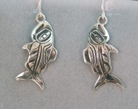 Photo of Walker-Goldsmiths-cast-Sterling-Salmon-Earrings-#614