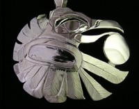 Raven bringing light to the world Hand carved sterling silver pendant by Owen Walker #403