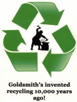 photo of goldsmith surrounded by the green recycling symbol