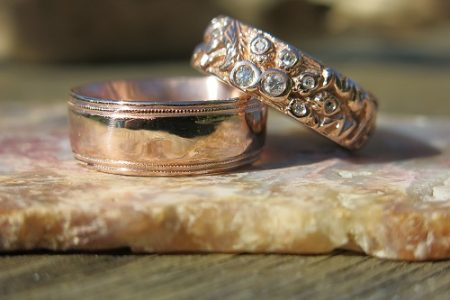 Red Gold Acorn Ring with diamonds